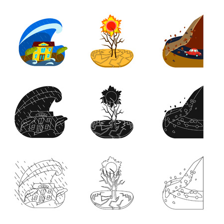 Vector illustration of weather and distress icon. Collection of weather and crash vector icon for stock.