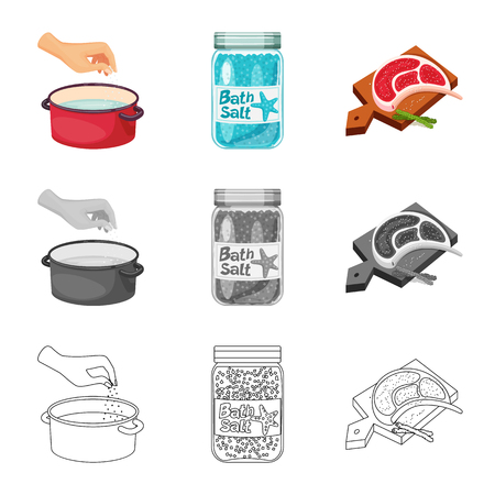 Isolated object of cooking and sea icon. Set of cooking and baking   stock vector illustration.