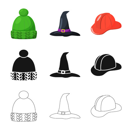 Vector design of clothing and cap sign. Collection of clothing and beret vector icon for stock. Imagens - 123124549