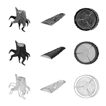 Vector illustration of tree   and raw  symbol. Collection of tree   and construction stock vector illustration. Foto de archivo - 121294718