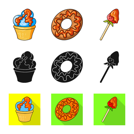 Vector design of confectionery and culinary logo. Collection of confectionery and product stock vector illustration. Banco de Imagens - 123124555