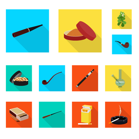 Isolated object of smoke and statistics sign. Collection of smoke and stop vector icon for stock. Çizim