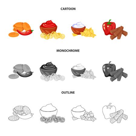 Illustrazione vettoriale di gusto e icona seasonin. Set di gusto e simbolo di borsa biologico per il web.