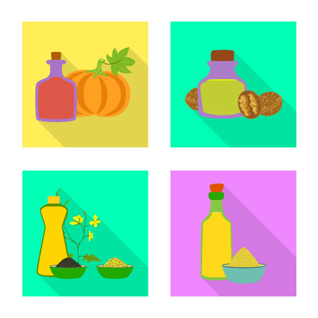 Vector design of bottle and glass  icon. Collection of bottle and agriculture stock vector illustration. Ilustração