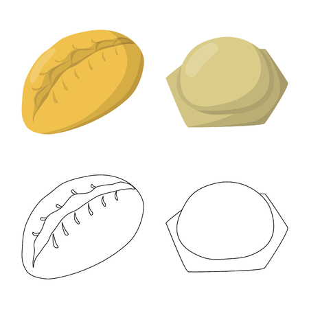 Vector design of products  and cooking. Collection of products  and appetizer stock vector illustration. Illustration