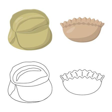 Isolated object of products  and cooking symbol. Set of products  and appetizer vector icon for stock.