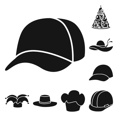Vector illustration of beanie and beret. Set of beanie and napper stock symbol for web.
