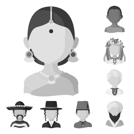 Isolated object of person and culture icon. Collection of person and race  stock vector illustration. Ilustrace