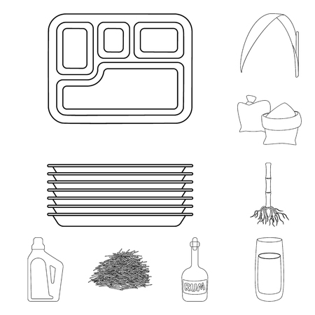 Isolated object of sugar and field icon. Collection of sugar and plantation vector icon for stock.