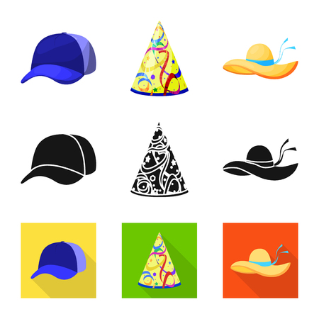 Isolated object of clothing and cap icon. Set of clothing and beret vector icon for stock.