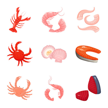 Vector illustration of food and sea sign. Set of food and healthy stock vector illustration.