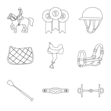 Vector illustration of horseback and equestrian . Collection of horseback and horse  stock symbol for web.