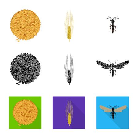 Vector illustration of agriculture and farming symbol. Collection of agriculture and plant  stock symbol for web. Ilustração
