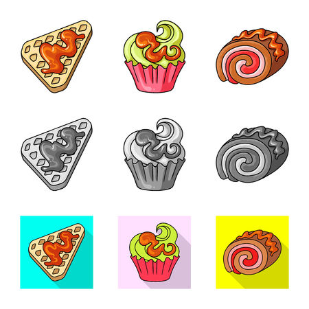 Vector design of confectionery and culinary symbol. Set of confectionery and product vector icon for stock.