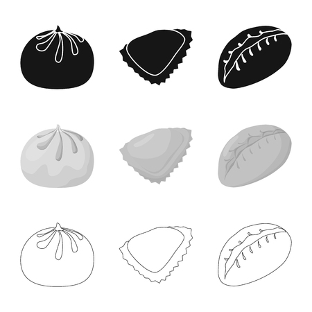 Vector design of products  and cooking icon. Set of products  and appetizer stock vector illustration.