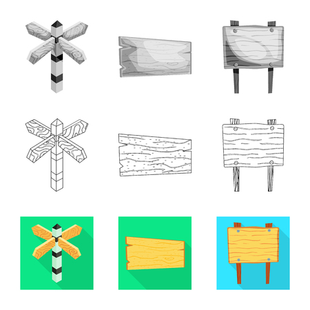 Vector design of raw  and forest  . Set of raw  and hardwood vector icon for stock.