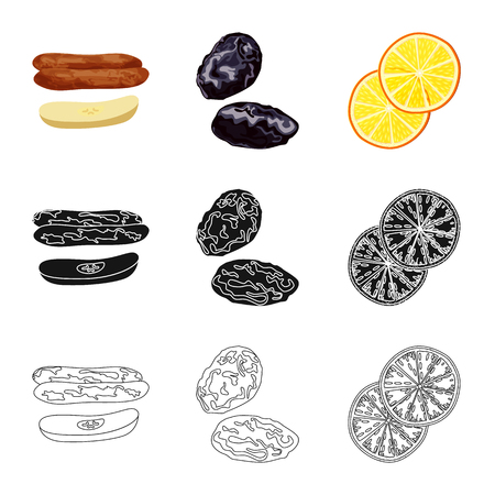 Isolated object of food  and raw  icon. Collection of food  and nature   vector icon for stock. Vectores