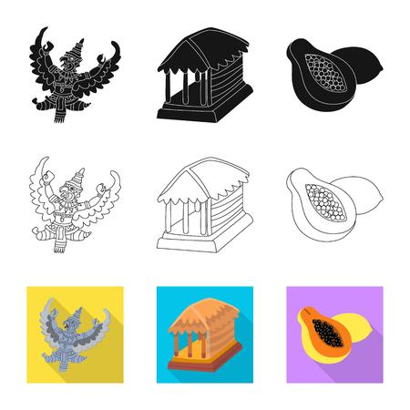 Diseño vectorial y signo de viaje. Colección y símbolo de bolsa tradicional para web. Ilustración de vector