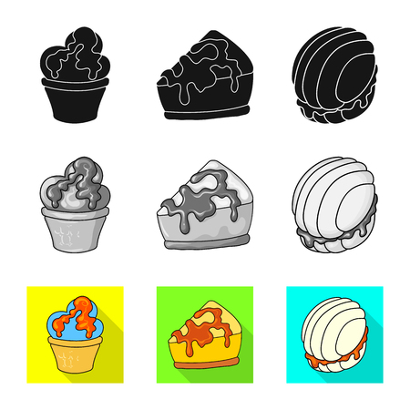 Isolated object of confectionery and culinary sign. Set of confectionery and product stock vector illustration. Иллюстрация