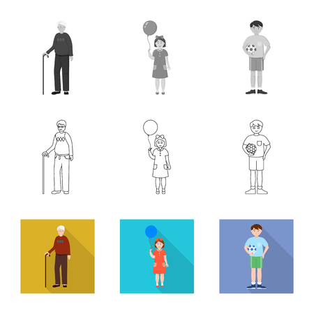 Vector illustration of character and avatar  . Set of character and portrait vector icon for stock. Illustration