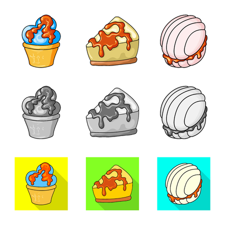 Isolated object of confectionery and culinary symbol. Collection of confectionery and product stock symbol for web. Иллюстрация