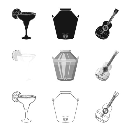 Vector design of cafe and Latin icon. Collection of cafe and national stock symbol for web.