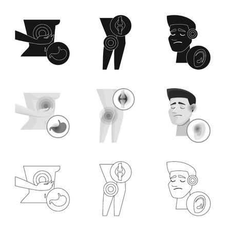 Vector design of hospital and rendering logo. Collection of hospital and help vector icon for stock. Illustration