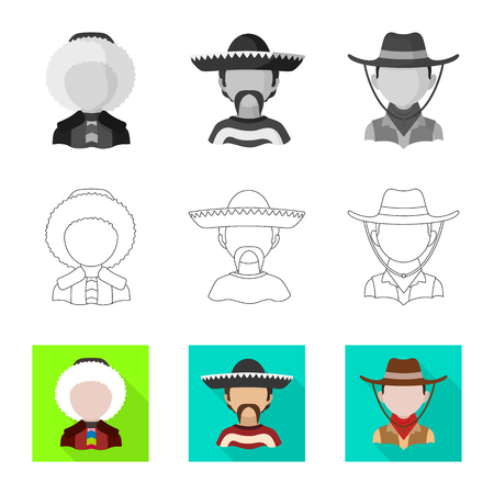 Vector design of imitator and resident logo. Set of imitator and culture vector icon for stock. Illustration