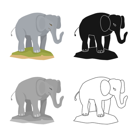 Vector illustration of elephant and cute logo. Set of elephant and Africa stock symbol for web.