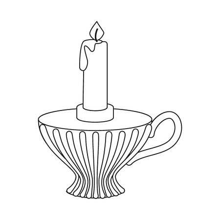 Isolated object of candle and candlestick  icon. Collection of candle and retro stock symbol for web.