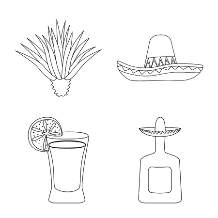 Vector illustration of Mexico and tequila logo. Set of Mexico and fiesta vector icon for stock.