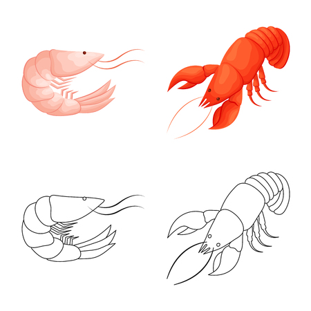 Vector design of appetizer and ocean symbol. Collection of appetizer and delicacy stock vector illustration.