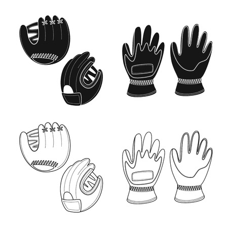 Vector illustration of silhouette and safety icon. Collection of silhouette and comfort stock vector illustration. Çizim