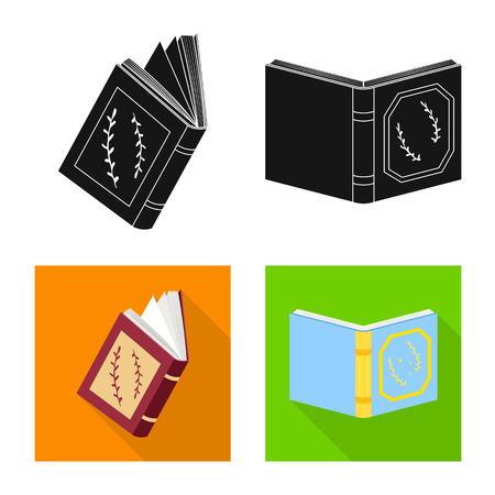 Isolated object of training and cover logo. Collection of training and bookstore  stock symbol for web.