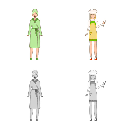 Isolated object of posture and mood symbol. Collection of posture and female vector icon for stock. Vettoriali