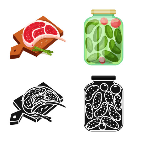 Vector design of cooking and sea sign. Set of cooking and baking   stock vector illustration.