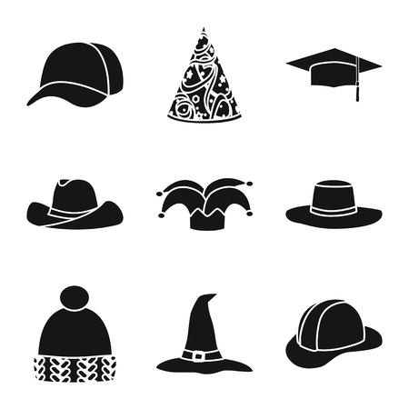 Vector illustration of beanie  and beret symbol. Collection of beanie  and napper vector icon for stock.