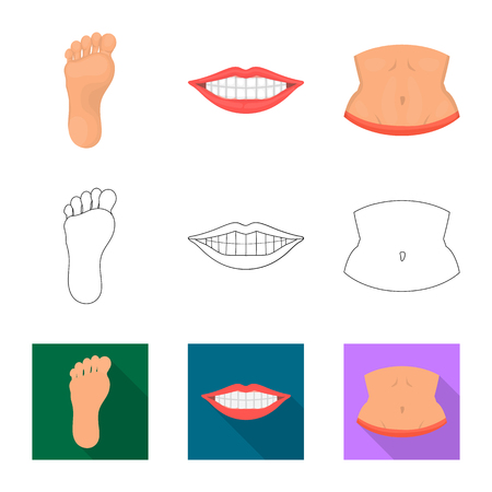 Isolated object of body and part icon. Collection of body and anatomy stock vector illustration. Ilustração