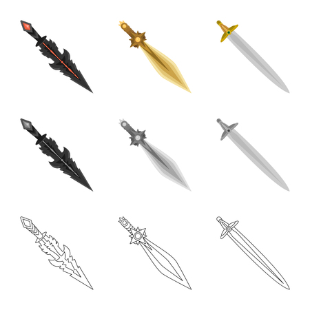 Isolated object of game and armor symbol. Set of game and blade stock symbol for web.