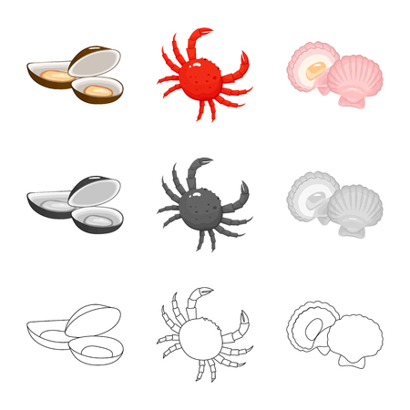 Vector illustration of fresh  and restaurant icon. Collection of fresh  and marine   stock vector illustration.