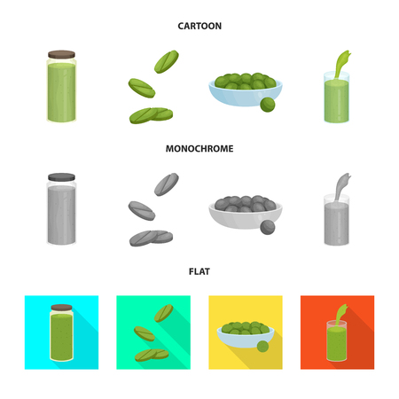 Isolated object of protein and sea symbol. Set of protein and natural vector icon for stock. Illustration