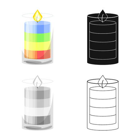 Isolated object of candle and glass logo. Set of candle and romantic vector icon for stock. Ilustrace