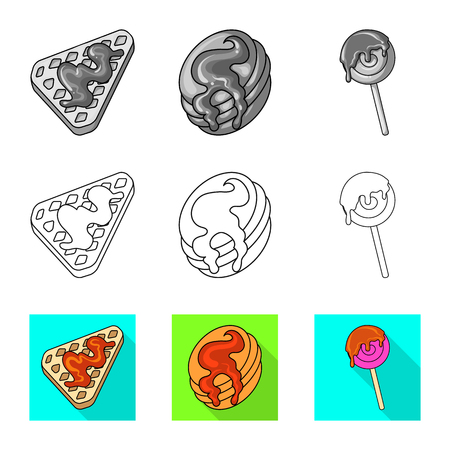 Vector illustration of confectionery and culinary icon. Collection of confectionery and product vector icon for stock. Illusztráció