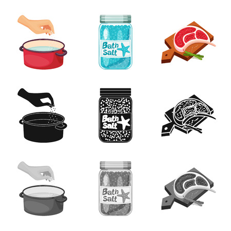 Vector illustration of cooking and sea icon. Collection of cooking and baking   vector icon for stock. Ilustração