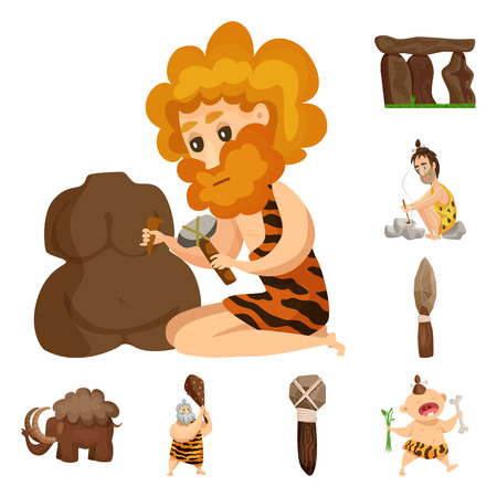 Isolated object of ancient and age icon. Collection of ancient and archeology stock vector illustration.