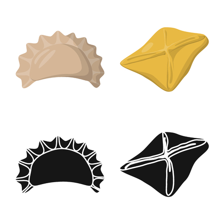 Vector illustration of products  and cooking icon. Collection of products  and appetizer stock symbol for web. Illustration
