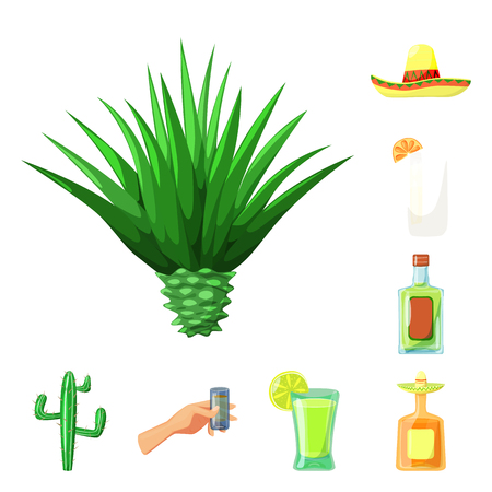 Isolated object of Mexico and tequila logo. Set of Mexico and fiesta stock symbol for web.