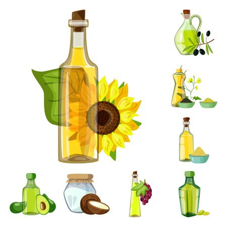 Vector illustration of bottle and glass  logo. Collection of bottle and agriculture stock symbol for web.