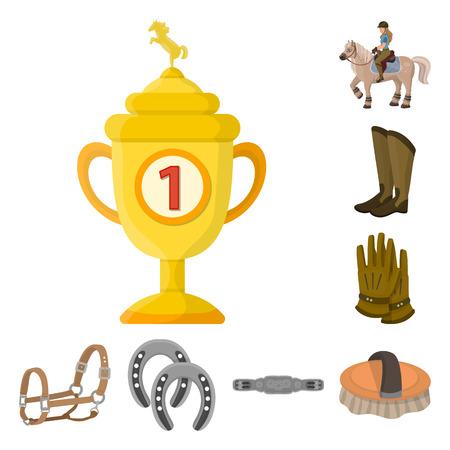 Vector illustration of horseback and equestrian logo. Set of horseback and horse  stock symbol for web.