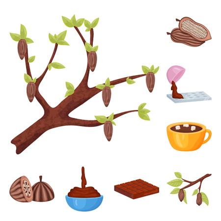 Vektorillustration des Kakao- und Bohnenzeichens. Satz von Kakao- und Süße-Aktiensymbol für das Web.